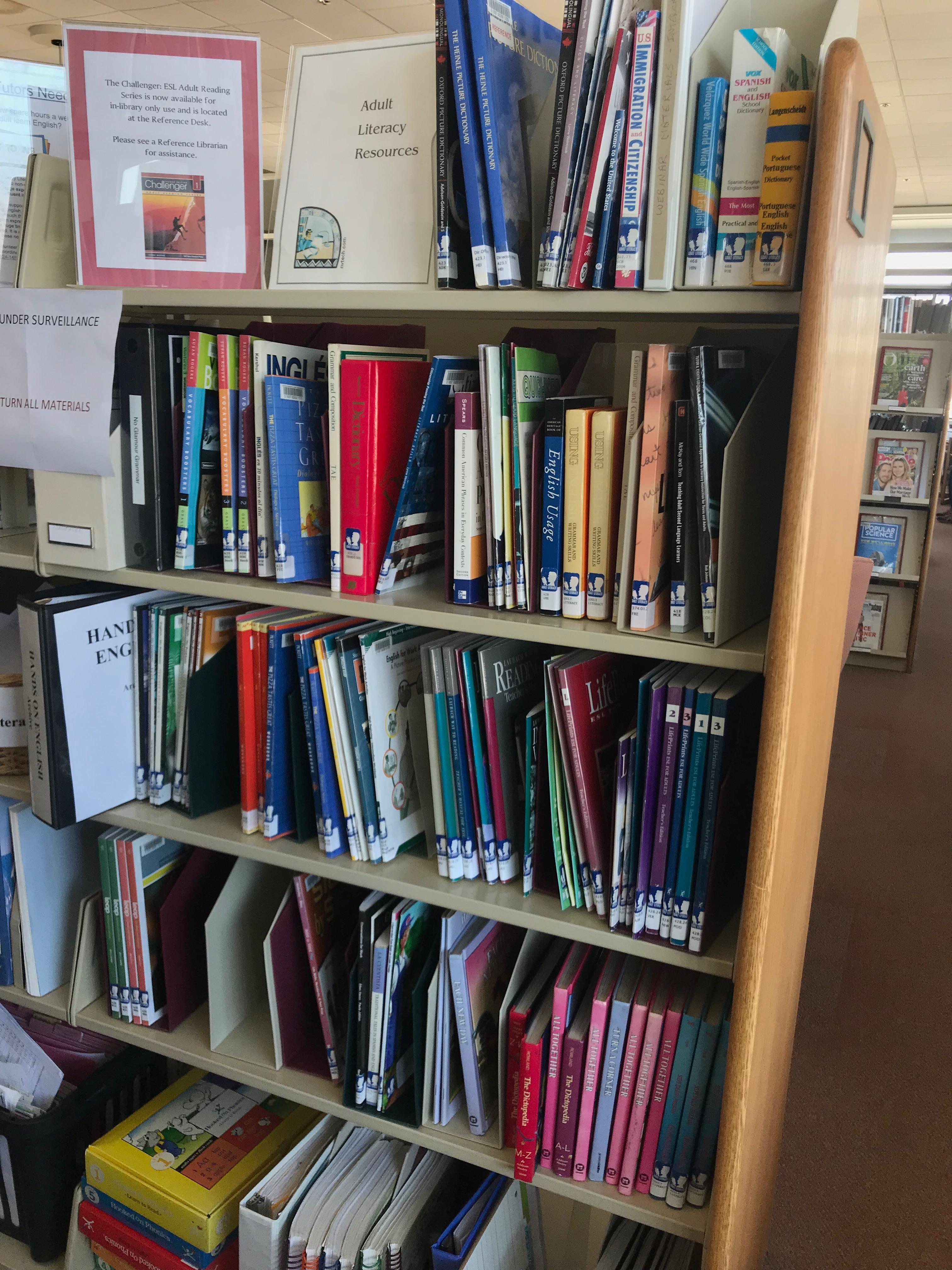 image of bookshelves featuring ESL study materials