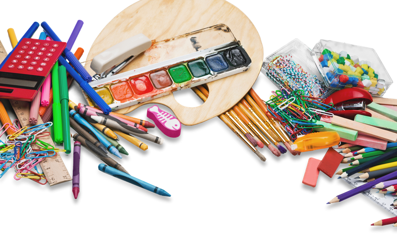 multicolored art supplies with a white background