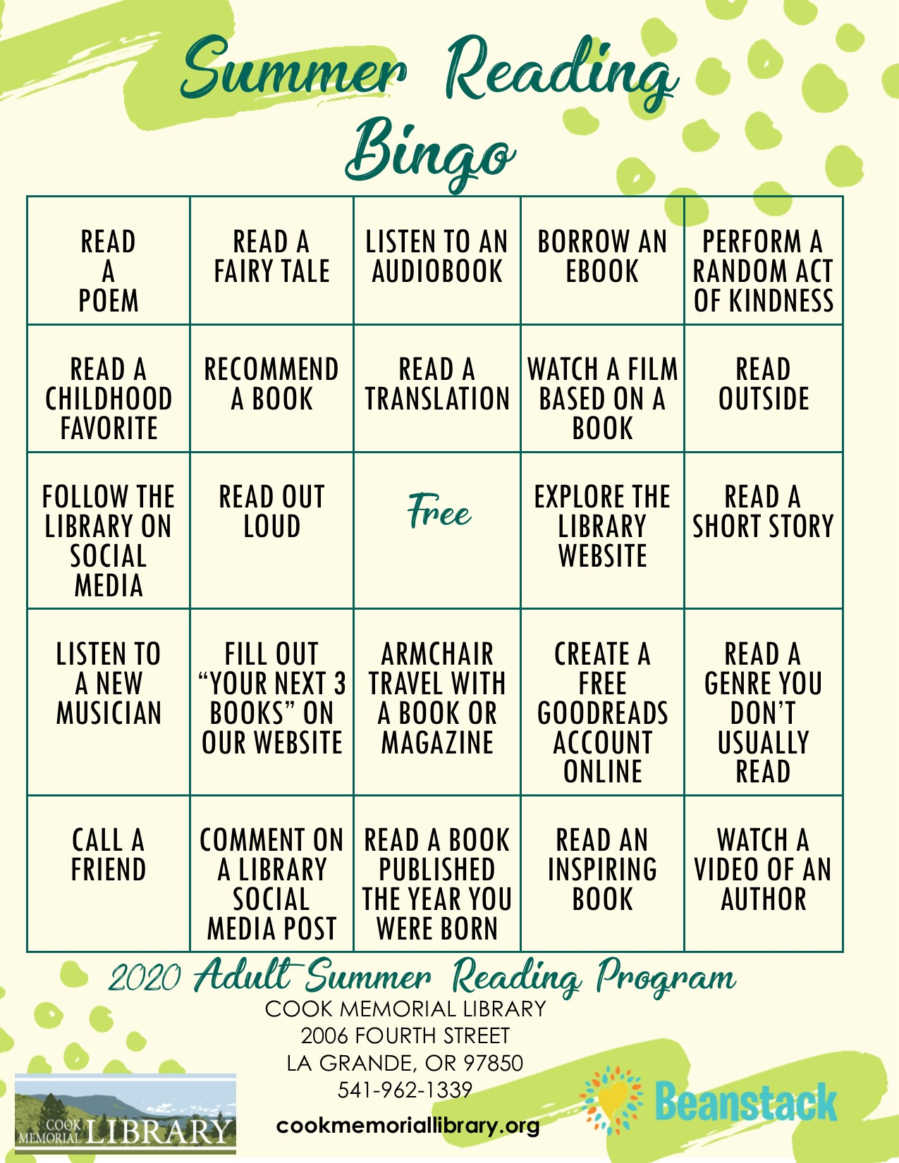 Summer Reading Program Bingo Card