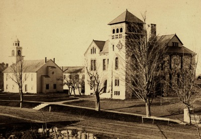 Sepia image of the Damon memorial building circa 1888