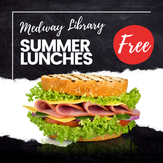 Medway Library Free Summer Lunches, picture of a ham, cheese, lettuce, tomato sandwich