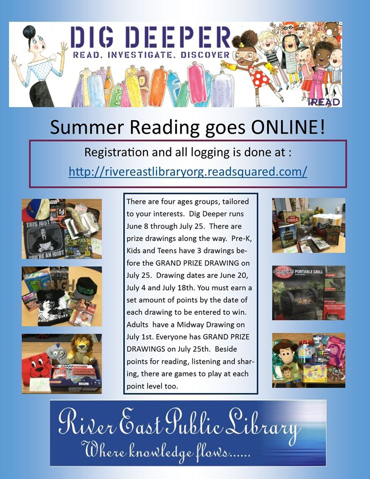 Poster Giving information on River East Library's upcoming summer reading program