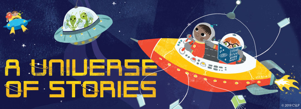 Universe of Stories graphic of children in space