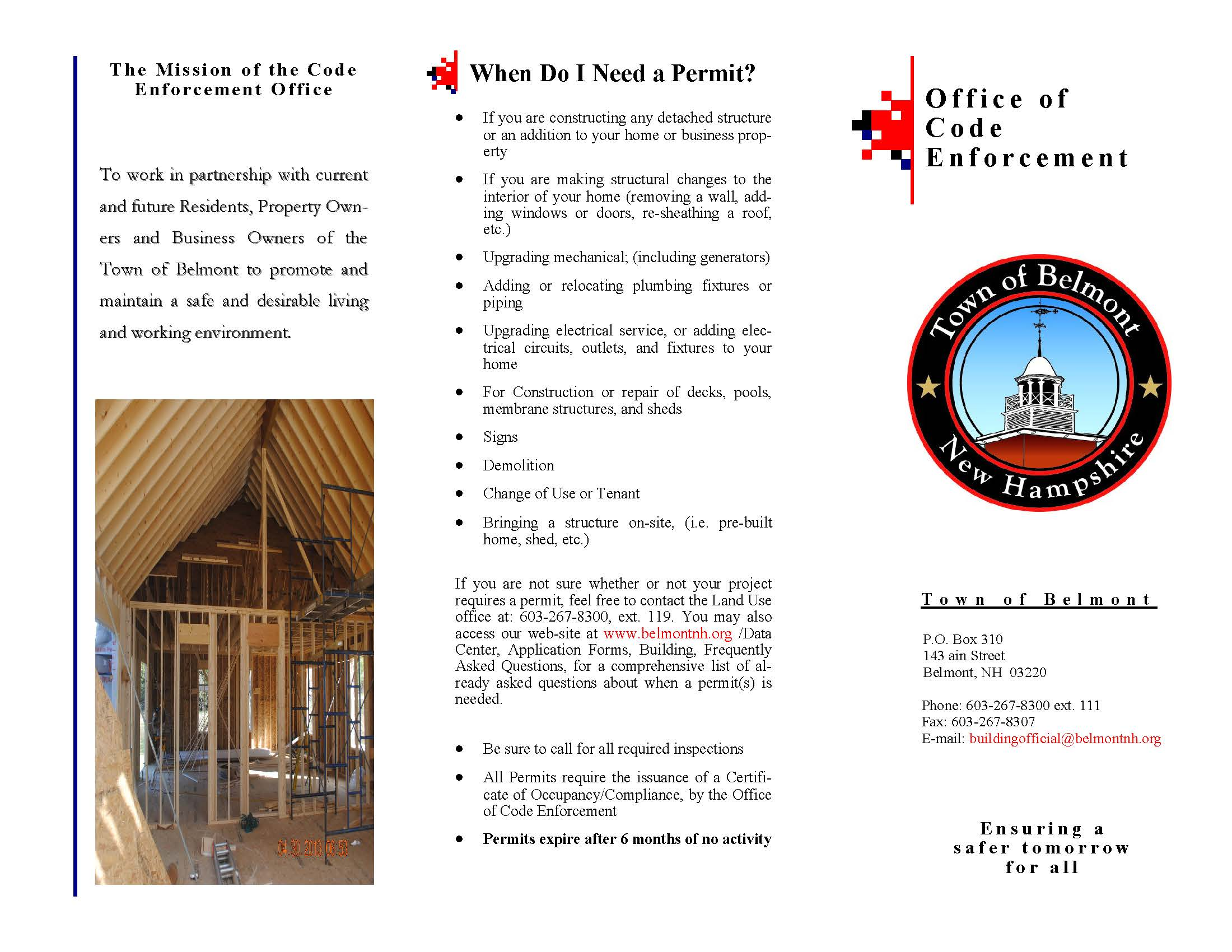 Copy of First page of code enforcement brochure.  Click to view full brochure