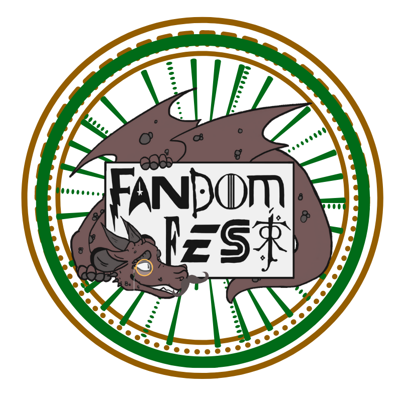 Dragon with monocle curled around Fandom Fest title card