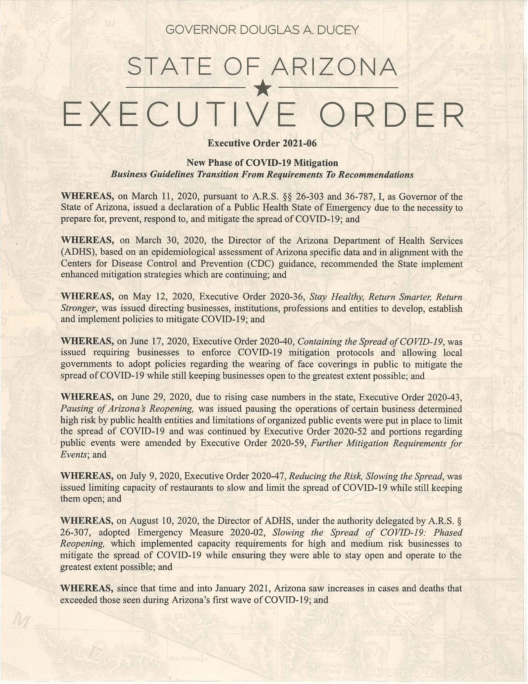 Page 1 of Doug Ducey's Executive Order 2021-06