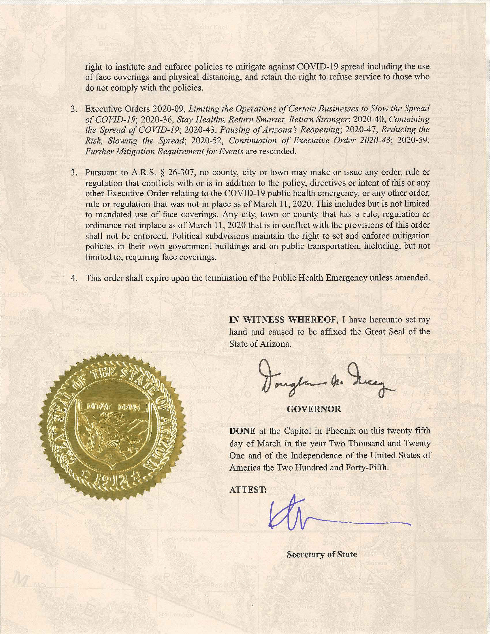 Page 3 of Doug Ducey's Executive Order 2021-06