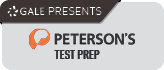 Image includes a link to Peterson's Test Prep website, presented by Gale Databases. Image includes logos for both Gale and Peterson's.