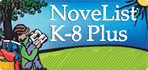 NoveList K-8 Plus logo. Image includes link to login page.