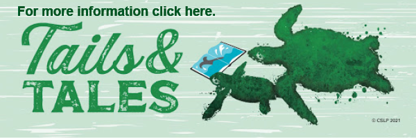 Button image has two turtles reading a book and has the 2021 Summer Reading Program slogan, Tails and Tales, on it. Button leads to the Cottonwood Public Library's 2021 SRP homepage.