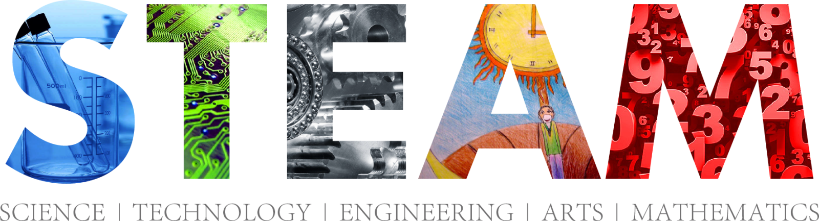 Image is the STEAM logo. Science, Technology, Engineering, Arts, Mathematics.