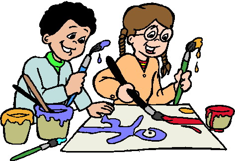Cartoon picture of two kids doing arts and crafts.