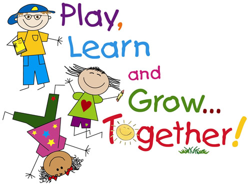 Image of cartoon kids that says Play, Learn, and Grow.... Together!