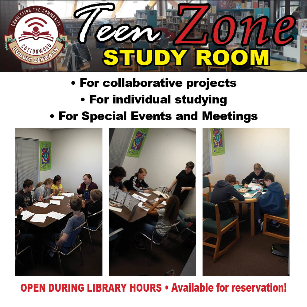 Flyer for the Teen Zone Study Room. Open during library hours, and available for reservation!