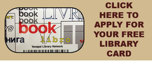 Click here to apply for your free library card. Image links to Yavapai Library Network page.