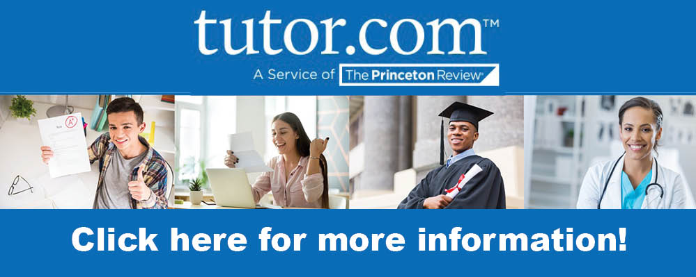 Picture links to the Cottonwood Library's Tutor.com homepage.