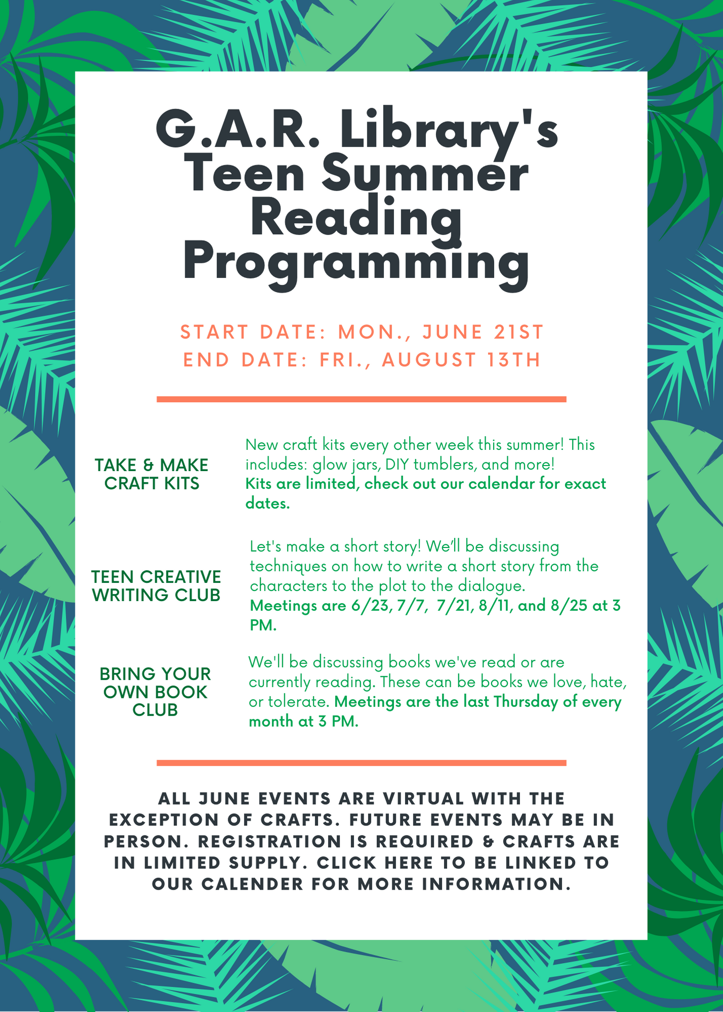Flier of the list of summer events. Please check out our calendar for more details with dates and times.
