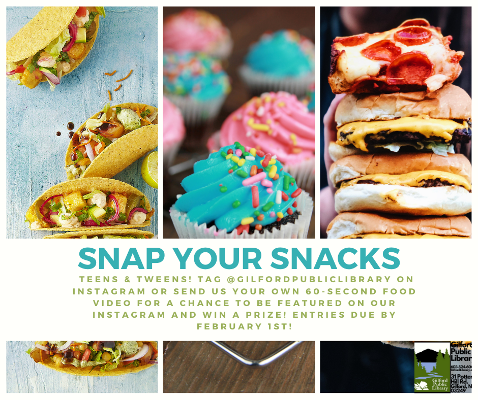 Snap Your Snack Flyer.  Information in text.