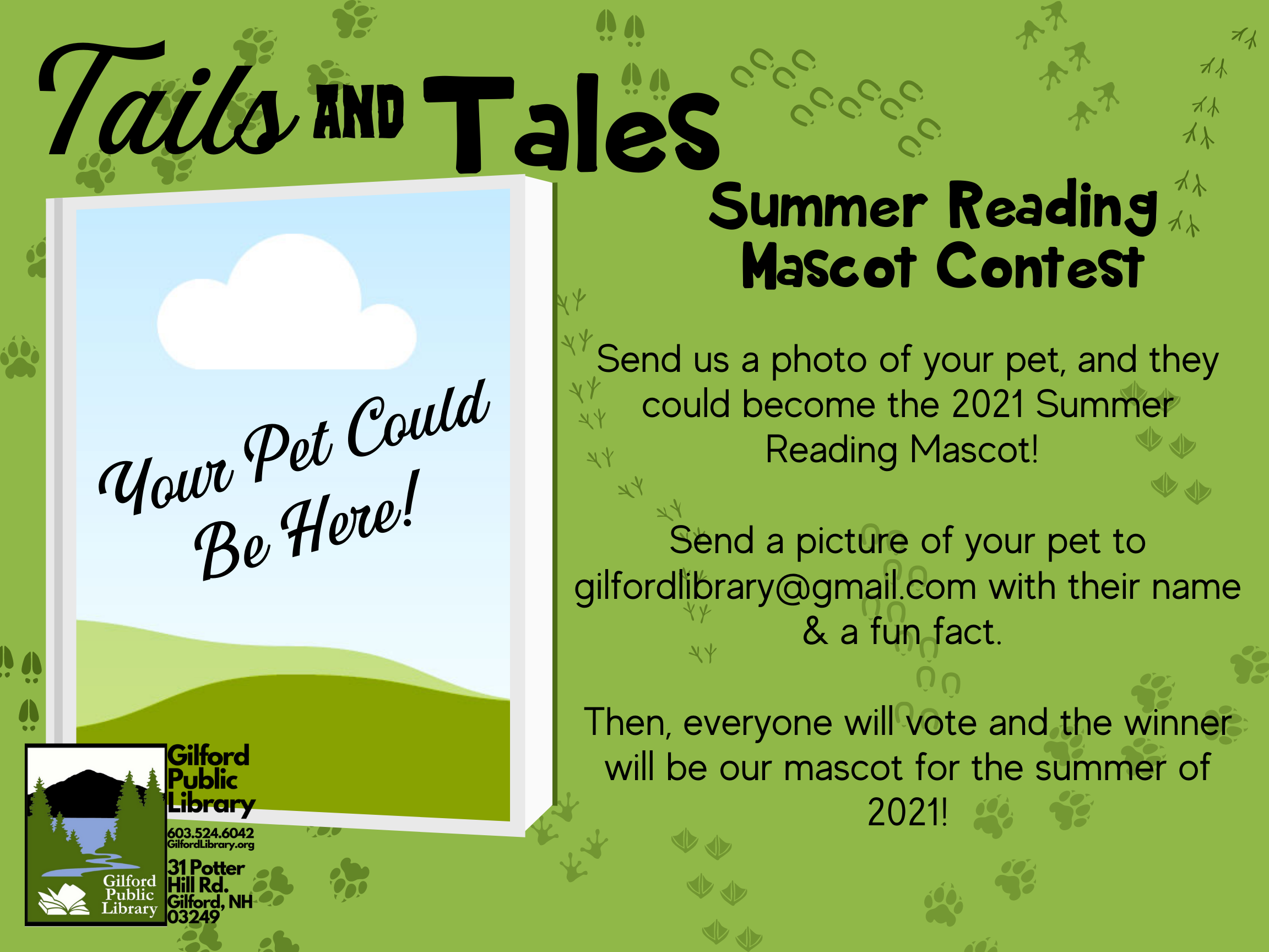 Picture of blank photo suggesting your animal could be our summer reading mascot