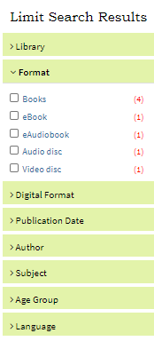 Limit Search Results Format