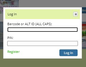 SAILS Catalog Log in Screen