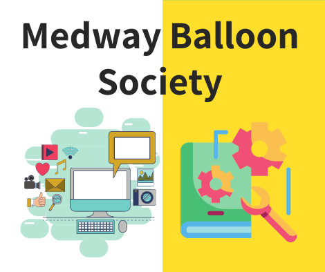 Medway Balloon Society, picture of computer, book, wrench &gears