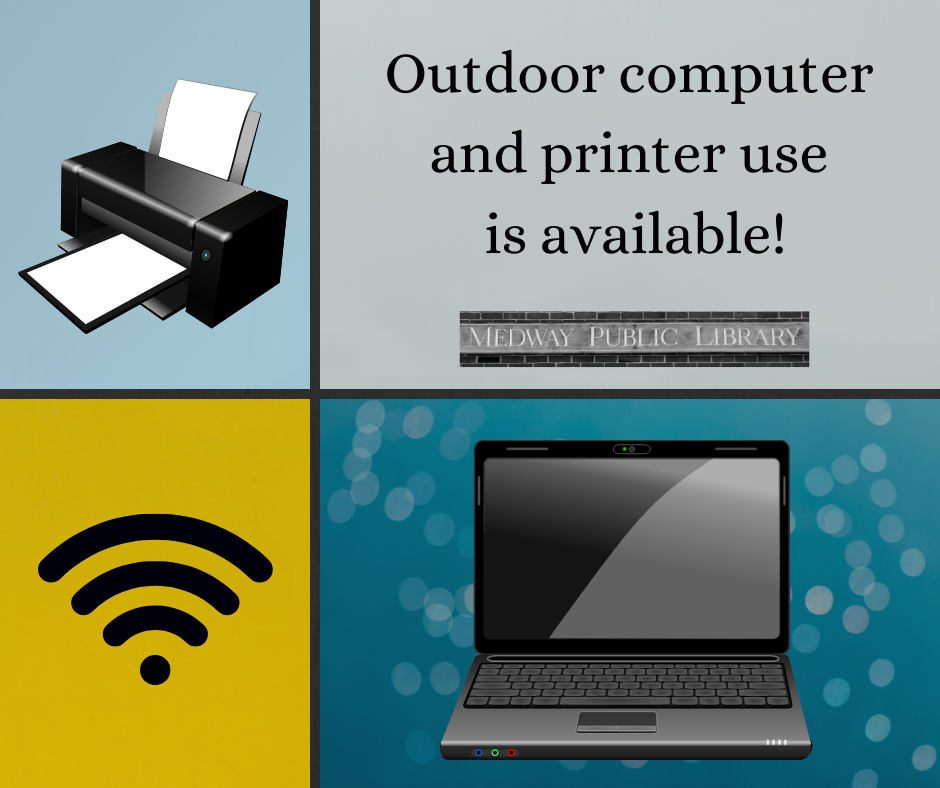 wifi symbol, printer & computer images with the following text:  outside computer and printer use now available