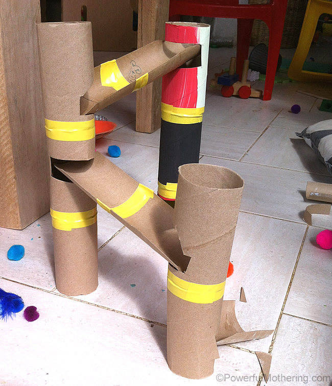 DIY Marble Run using paper tubes