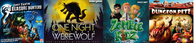 Covers of 4 spooky-themed board games