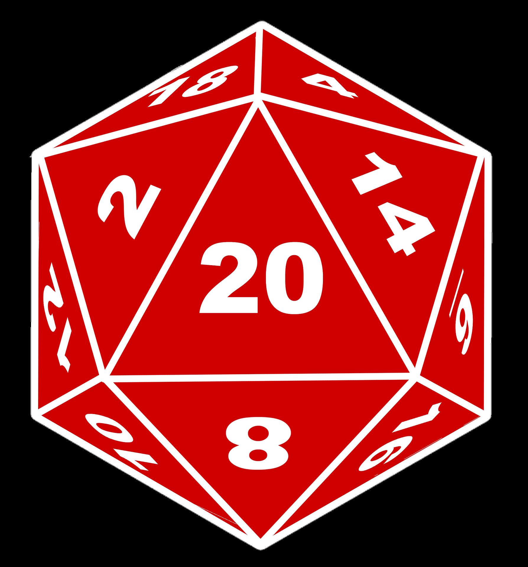 Red 20-sided die