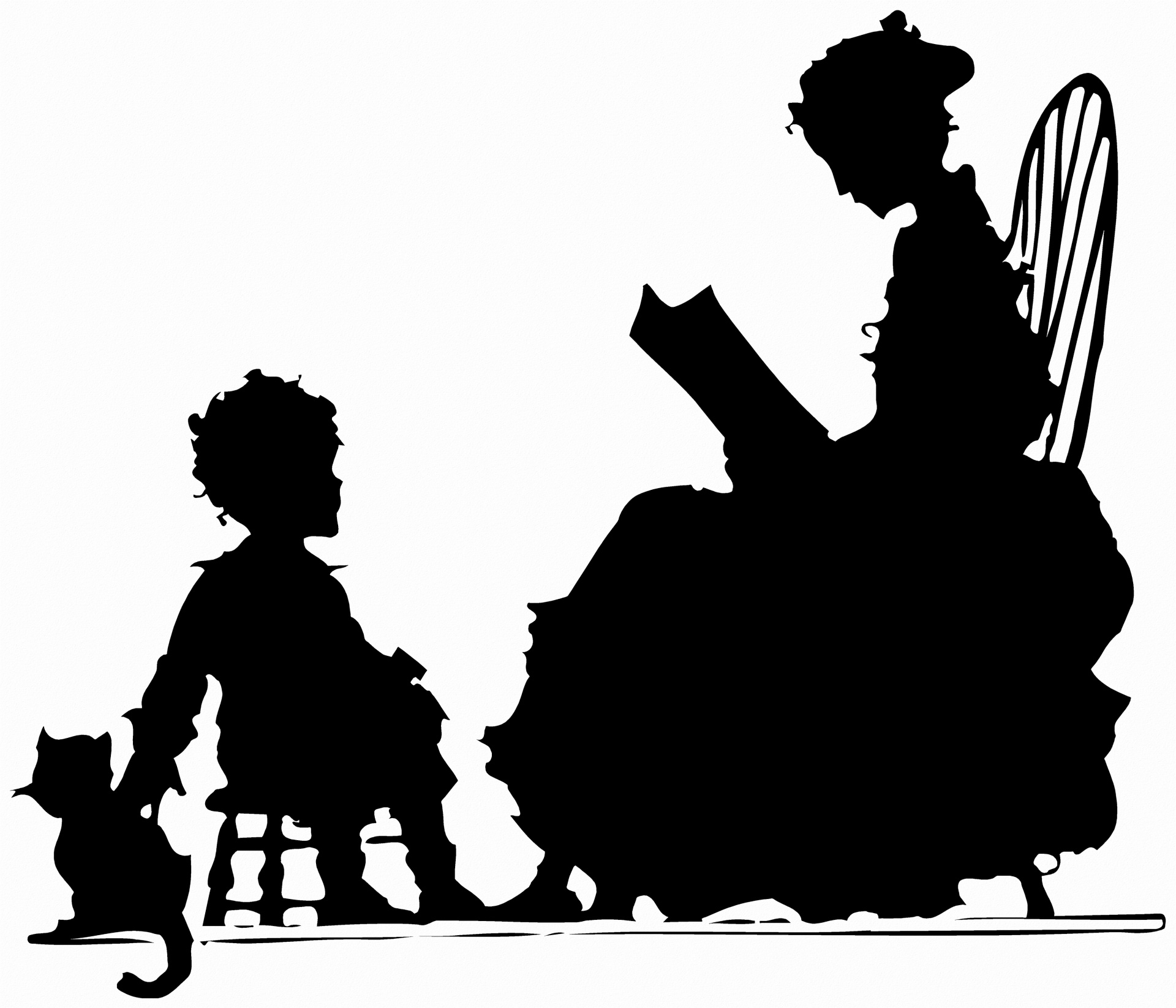 Silhouette of woman reading to a child with a cat.