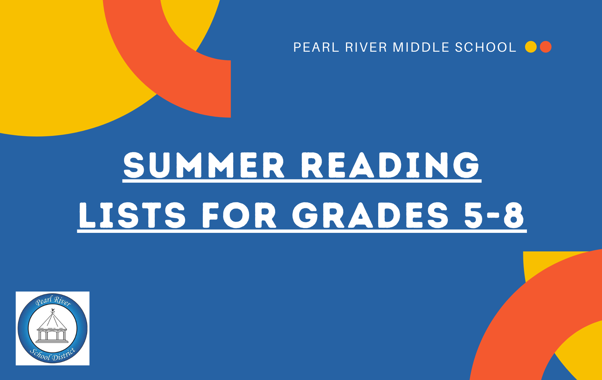 Click for Middle School summer reading lists