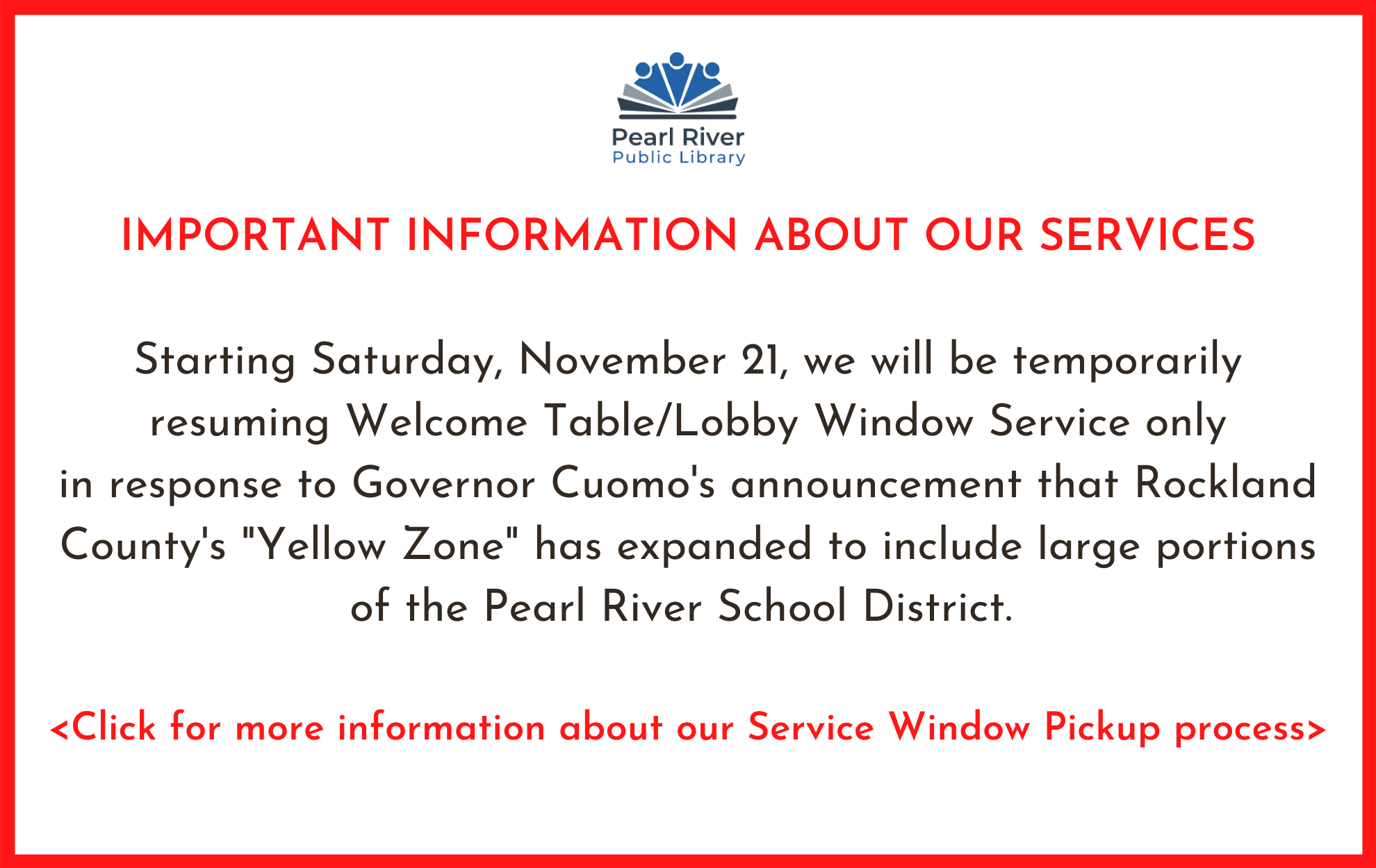 We are resuming window service only as a result of COVID. Click for more information.