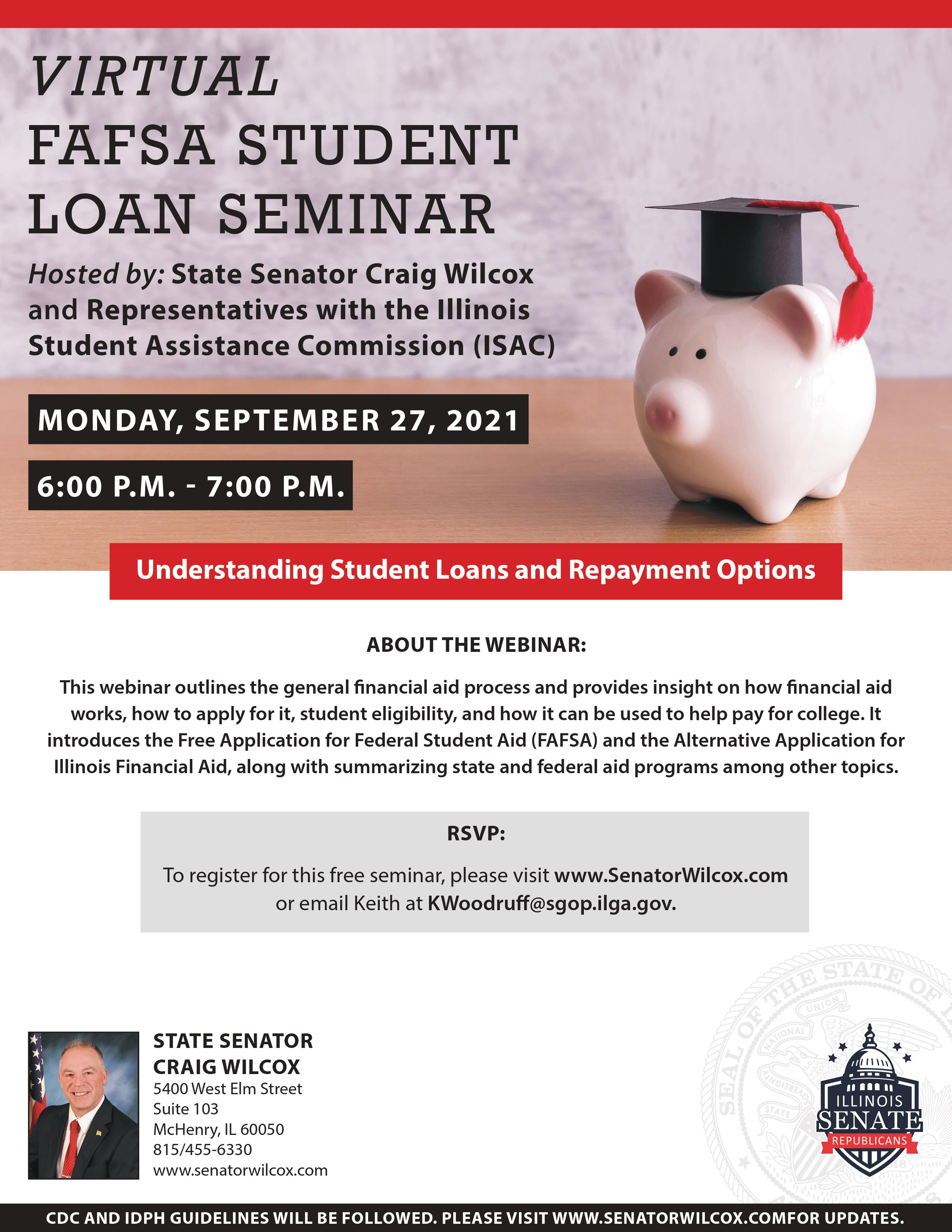 Poster with details of financial aid webinar