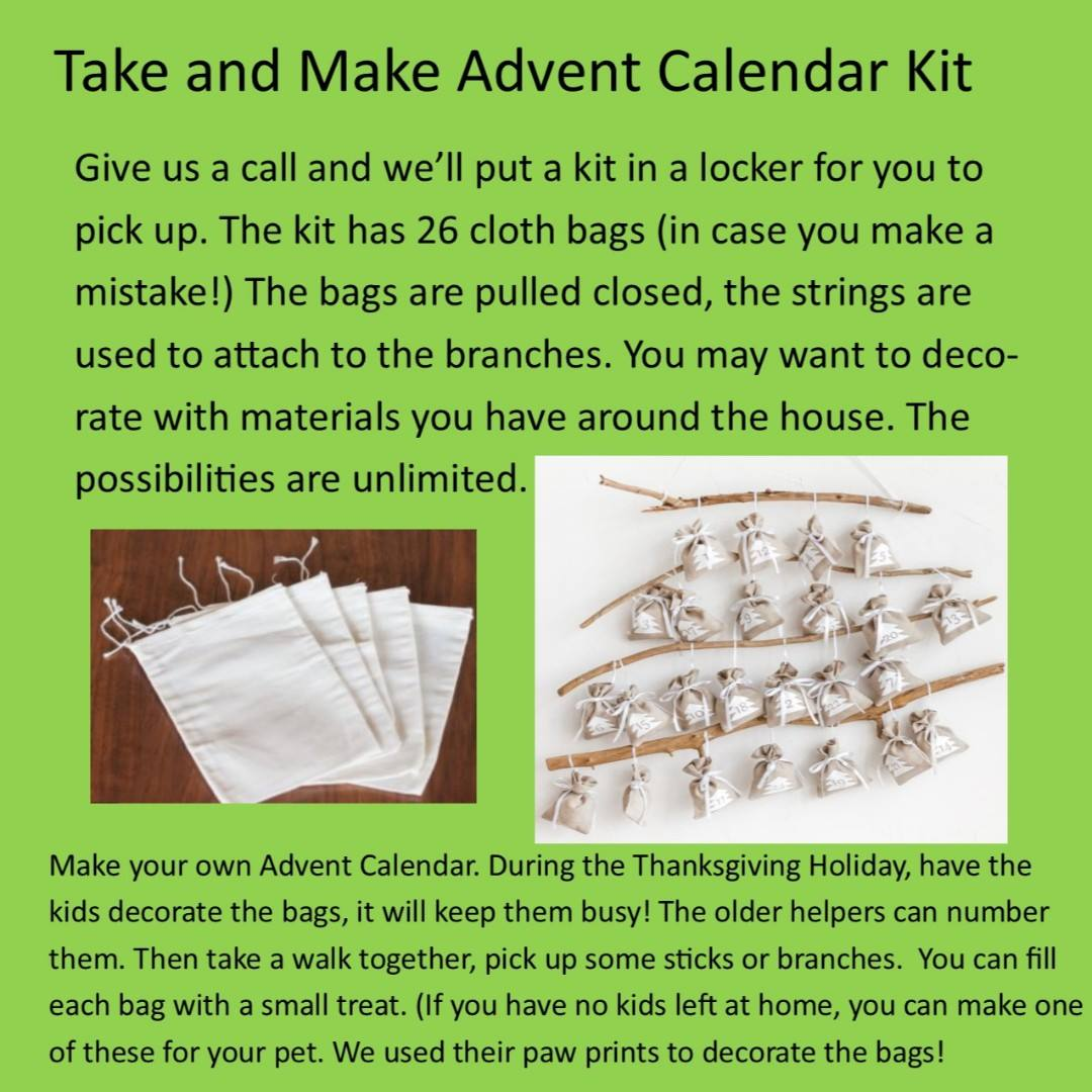 Poster showing a take and make advent calendar craft that can be picked up curbside at the library