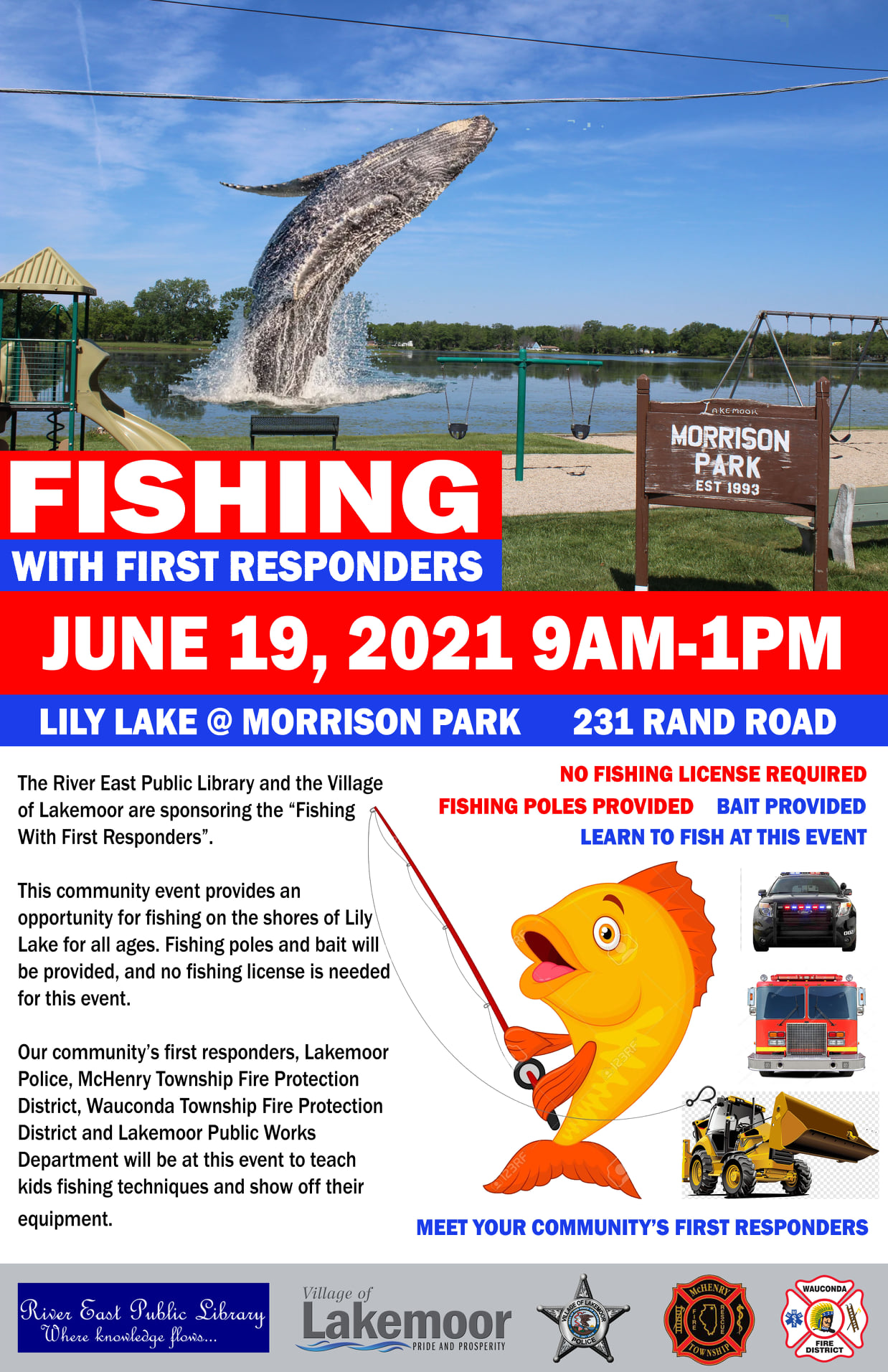 Poster displaying the information for the fishing with first responders event.