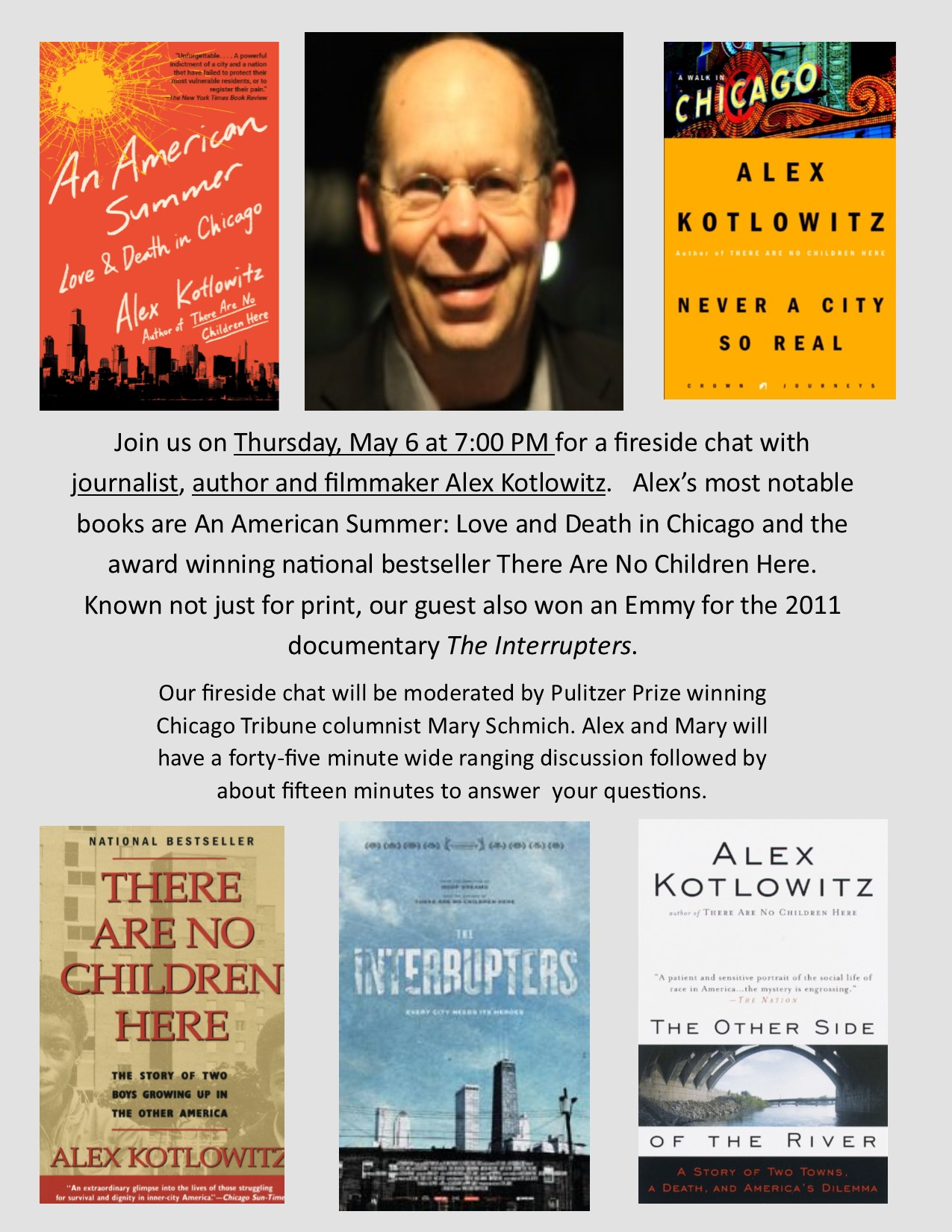 Poster featuring images of Alex Kotlowitz, journalist and author, and a selection of his book covers