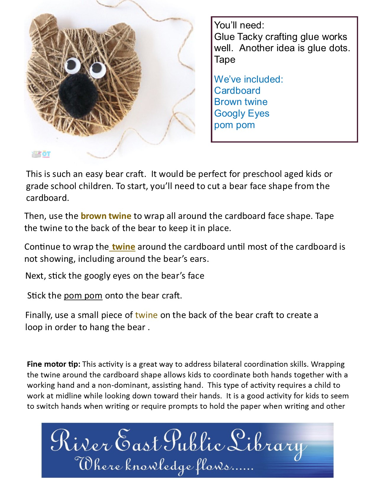 Flyer displaying our new take and make craft for this week, which is a teddy bear made with twine