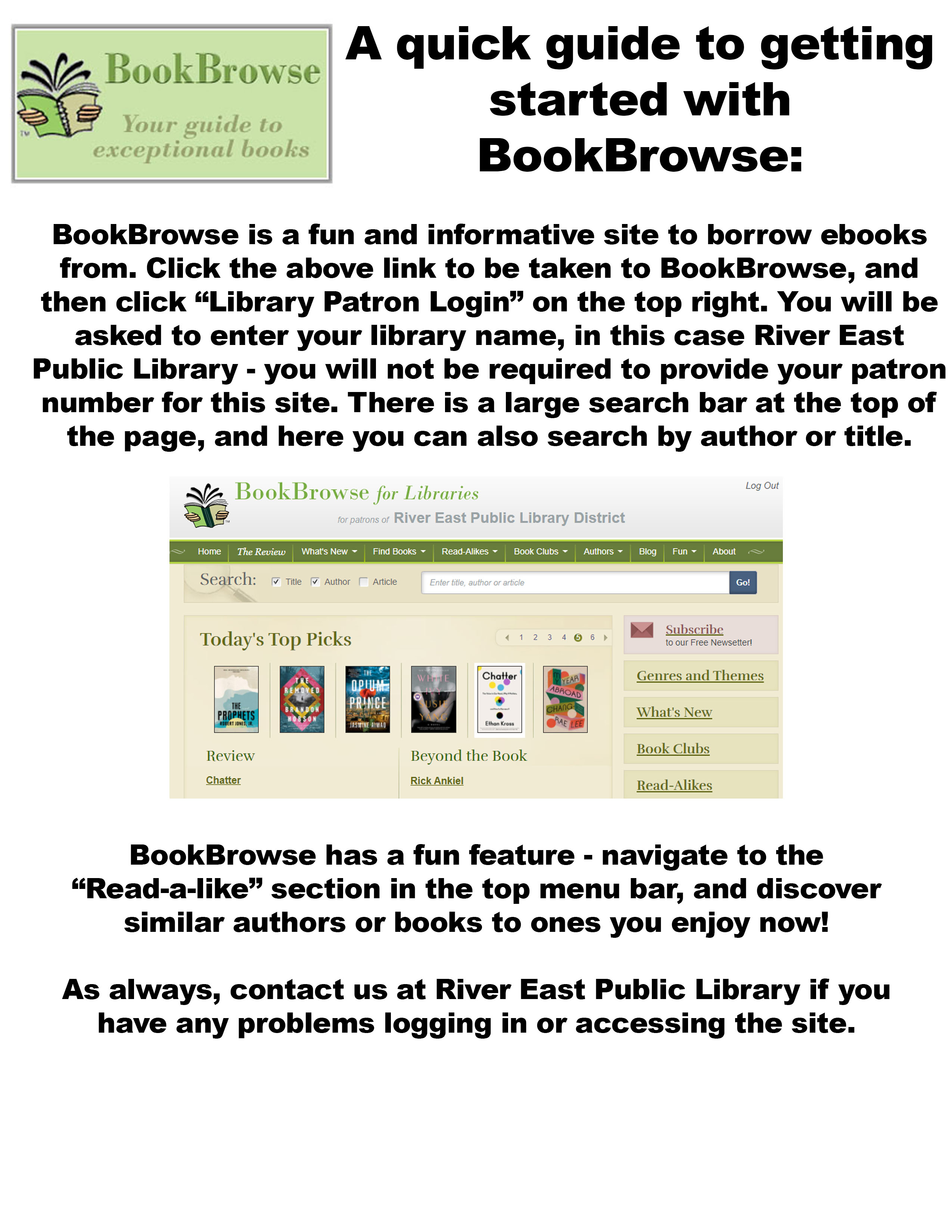 Poster describing how to access and utilize the BookBrowse website