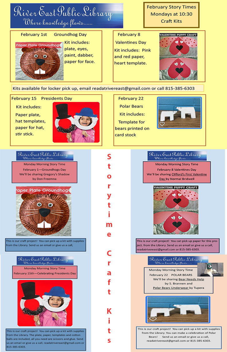 Poster with details of our take and make crafts for storytime this February