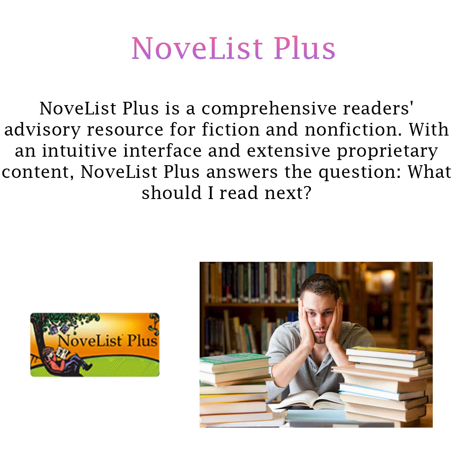 Small image with a synopsis of NoveList Plus, with a clickable link