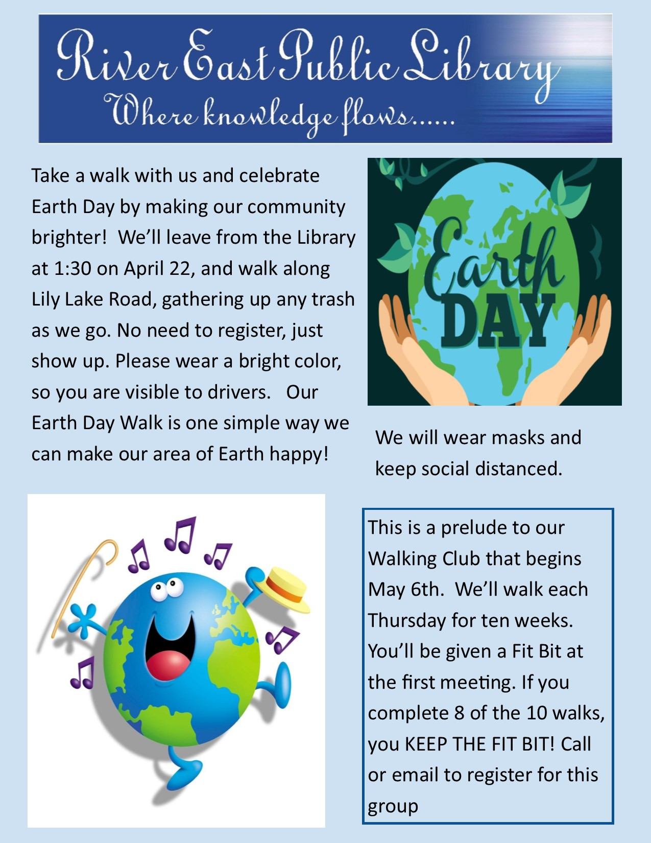 Image showing a poster with a pair of hands cupping the earth, and text about Earth Day