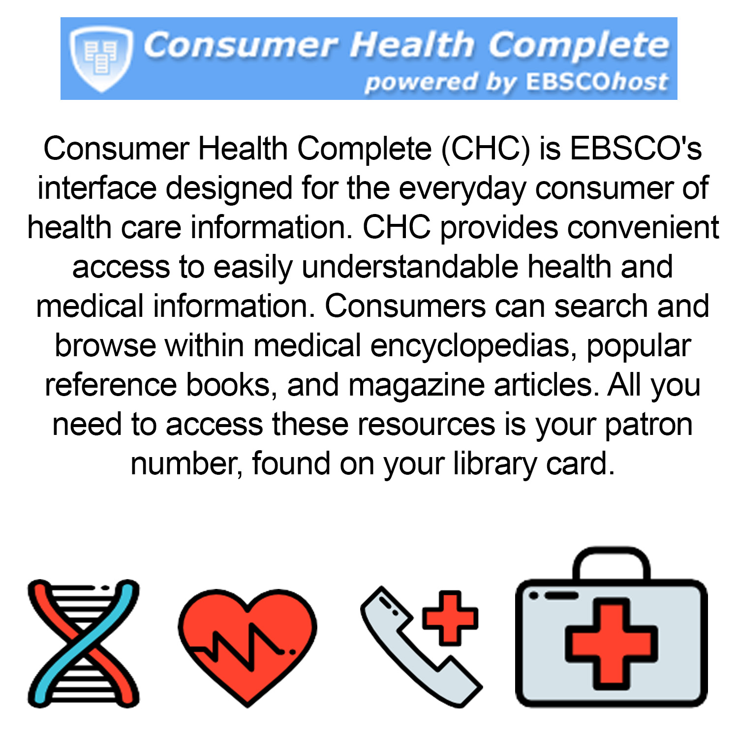 Small image with a synopsis of Ebsco consumer health databasewith clickable link