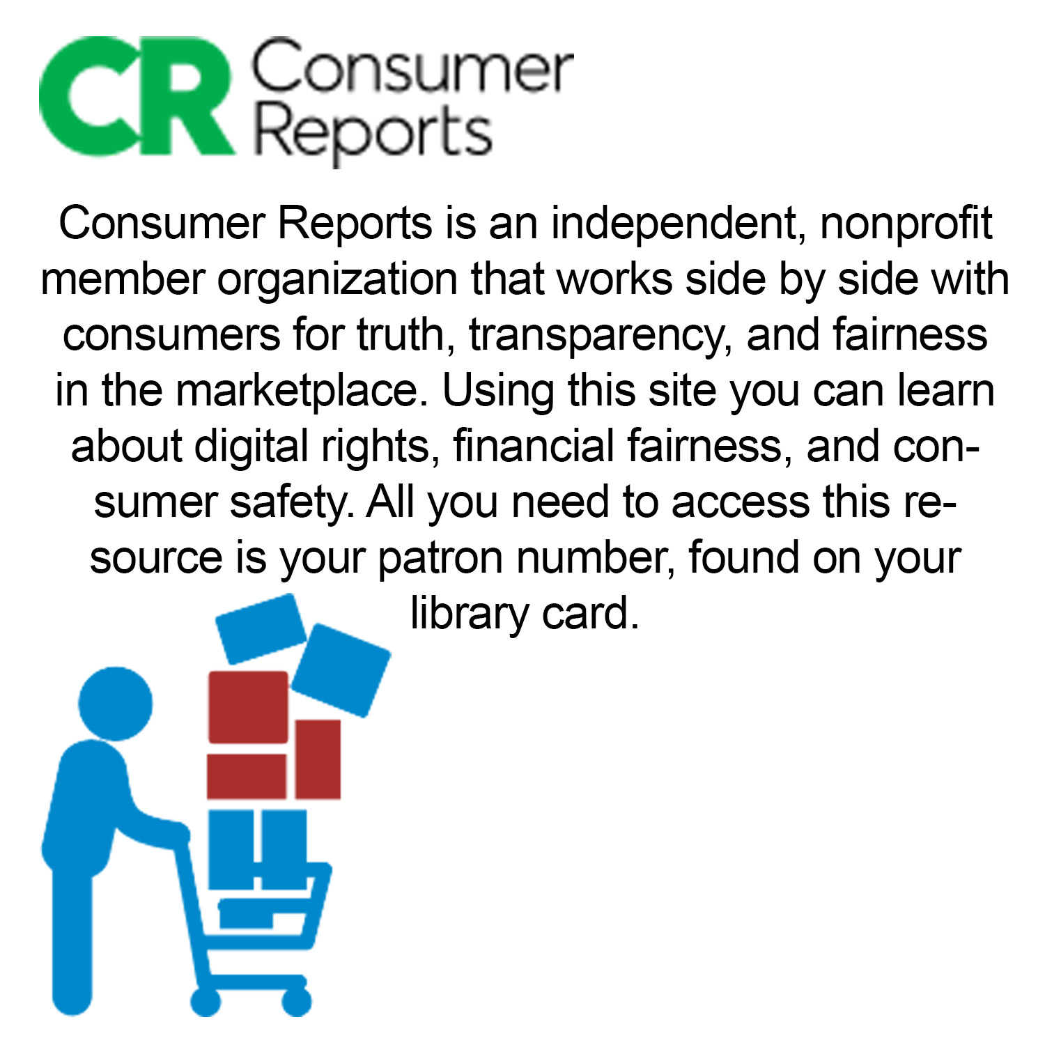 Small image with a synopsis of Ebsco consumer reports database  with clickable link