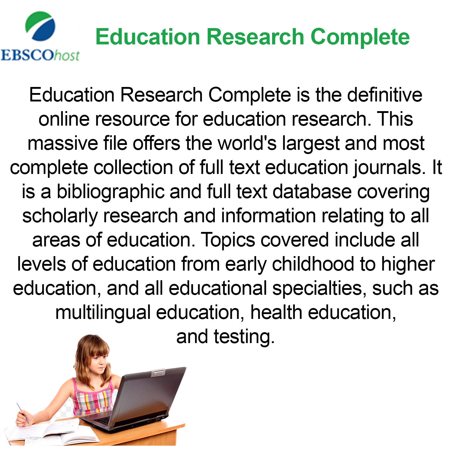 Small image with a synopsis of Ebsco education databasewith clickable link