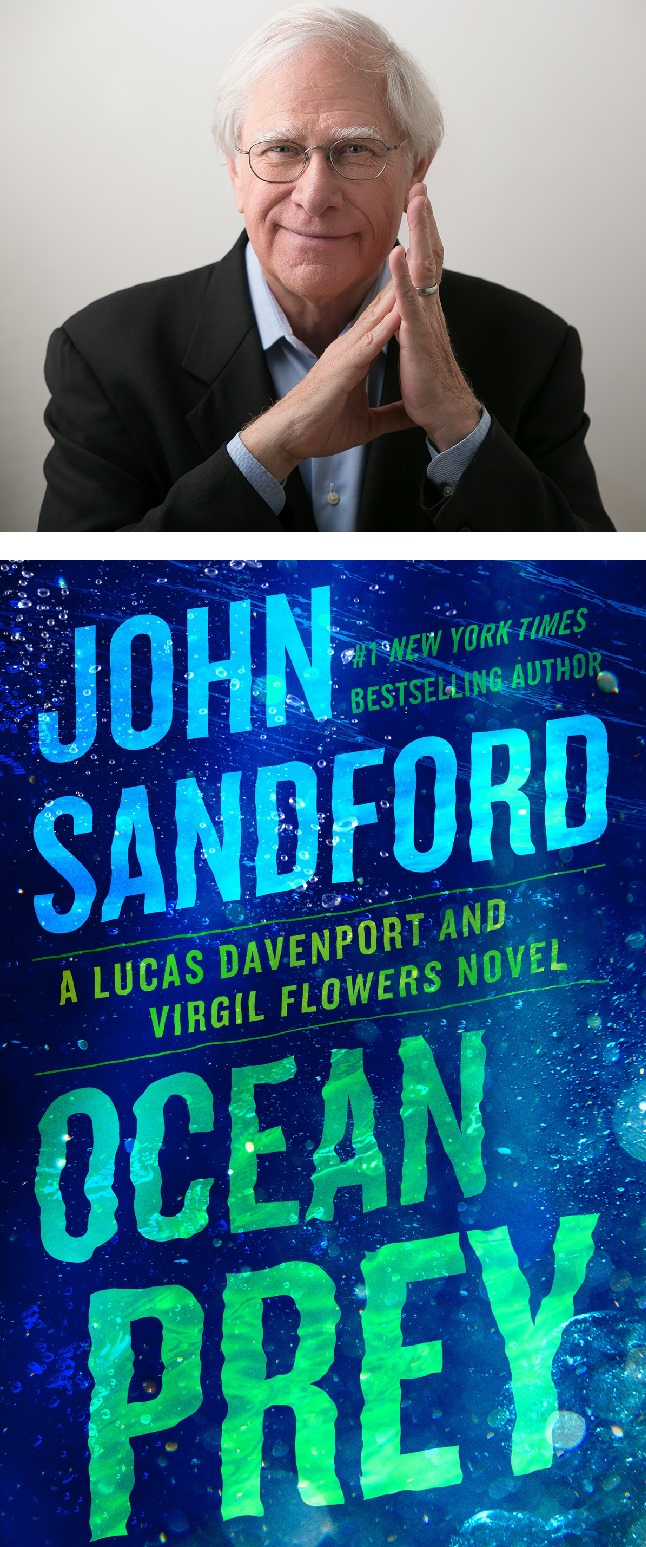 """A picture of the author John Sandford and the cover of his book """"Ocean Prey"""""""