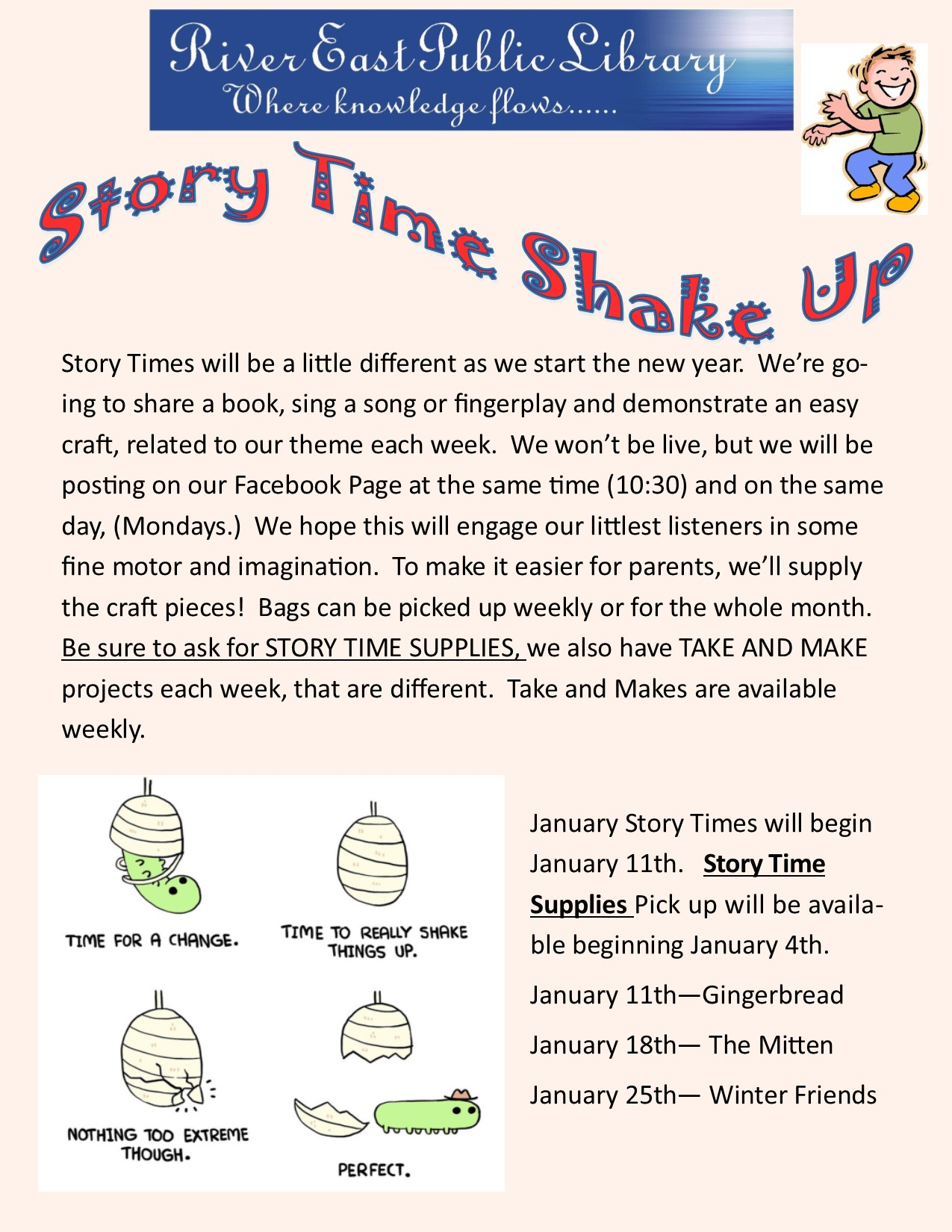 Poster outlining our new story time schedule for January 2021
