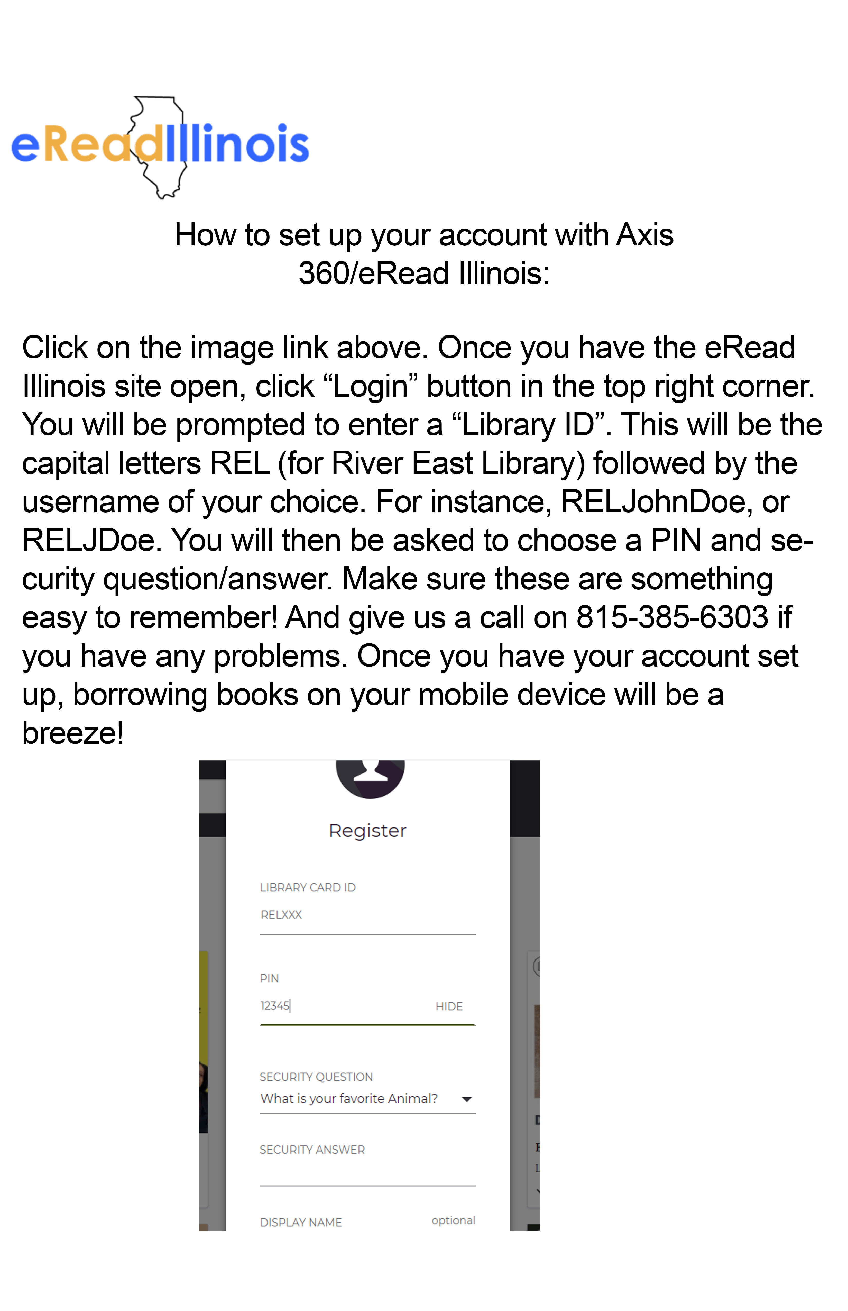 Image detailing how to login to Axis360/eRead Illinois