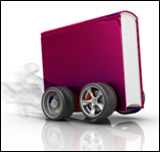 Image of a book on wheels