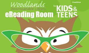 Woodlands Library Overdrive logo; picture of owl face wearing glasses